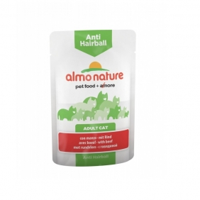 Almo Nature Anti-Hairball Паучи с говядиной для вывода шерсти у кошек, 70 гр